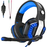 LATEC Gaming Headset for XBOX ONE, PS4, Nintendo Switch, Desktop, Mobile, Tablet, Laptop, Gaming Headphones with Mic Noise Cancellation Volume Control LED Lighting (Blue)