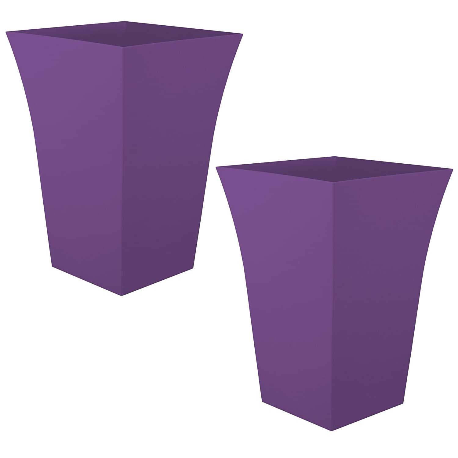 Charming 2 X CrazyGadget® Large Milano Tall Planter Square Plastic Garden Flower Plant  Pot Gloss Finish PURPLE: Amazon.co.uk: Garden U0026 Outdoors