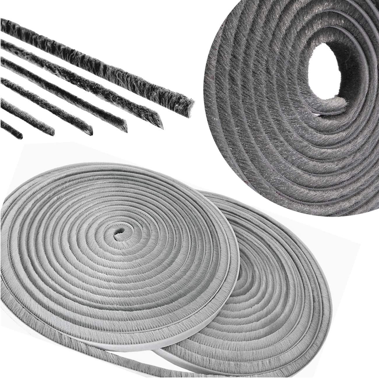 Yueser 5 m Sellado Cepillo Strip Autoadhesivo Prueba de Viento de Polvo Tira de Sellado para Marco de la Puerta Ventana Armarios 9 x 15 mm(Blanco,Gris Plateado)