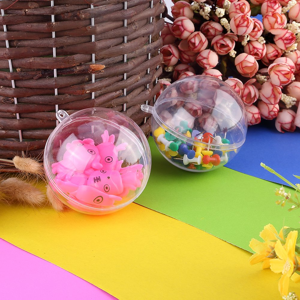8CM 20pcs Christmas Tree Baubles Decorations Clear Round Glass Fillable Plastic Craft Balls Ornaments