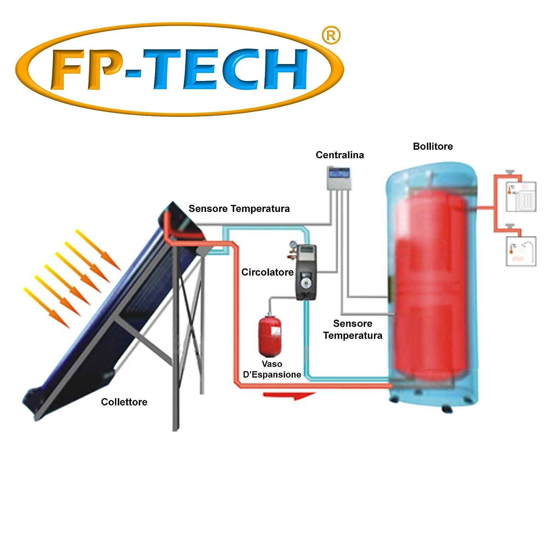 fp-tech - Panel solar térmico Heat Pipe presurizado 250 LT Circulación soldada acero inoxidable Agua Caliente: Amazon.es: Electrónica