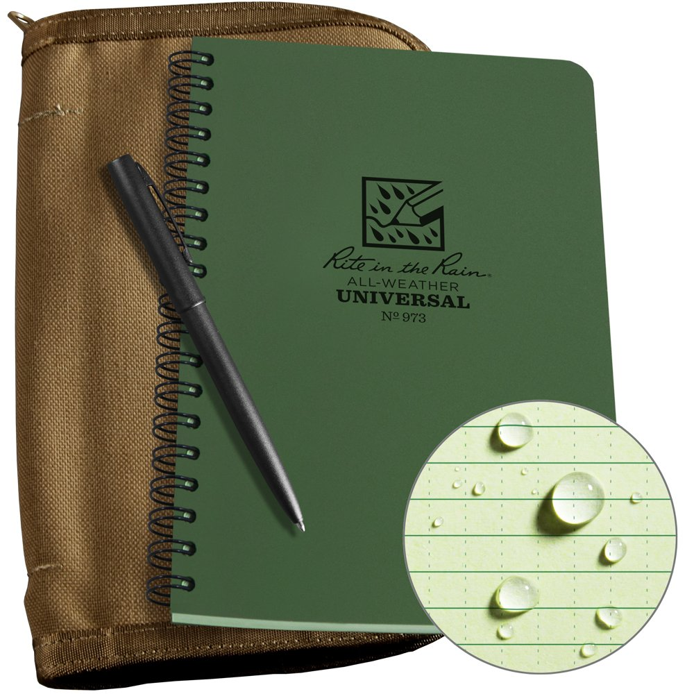 Rite in the Rain Weatherproof Side Spiral Kit: Tan CORDURA Fabric Cover, 4 5/8'' x 7'' Green Notebook, and Weatherproof Pen (No. 973-KIT)