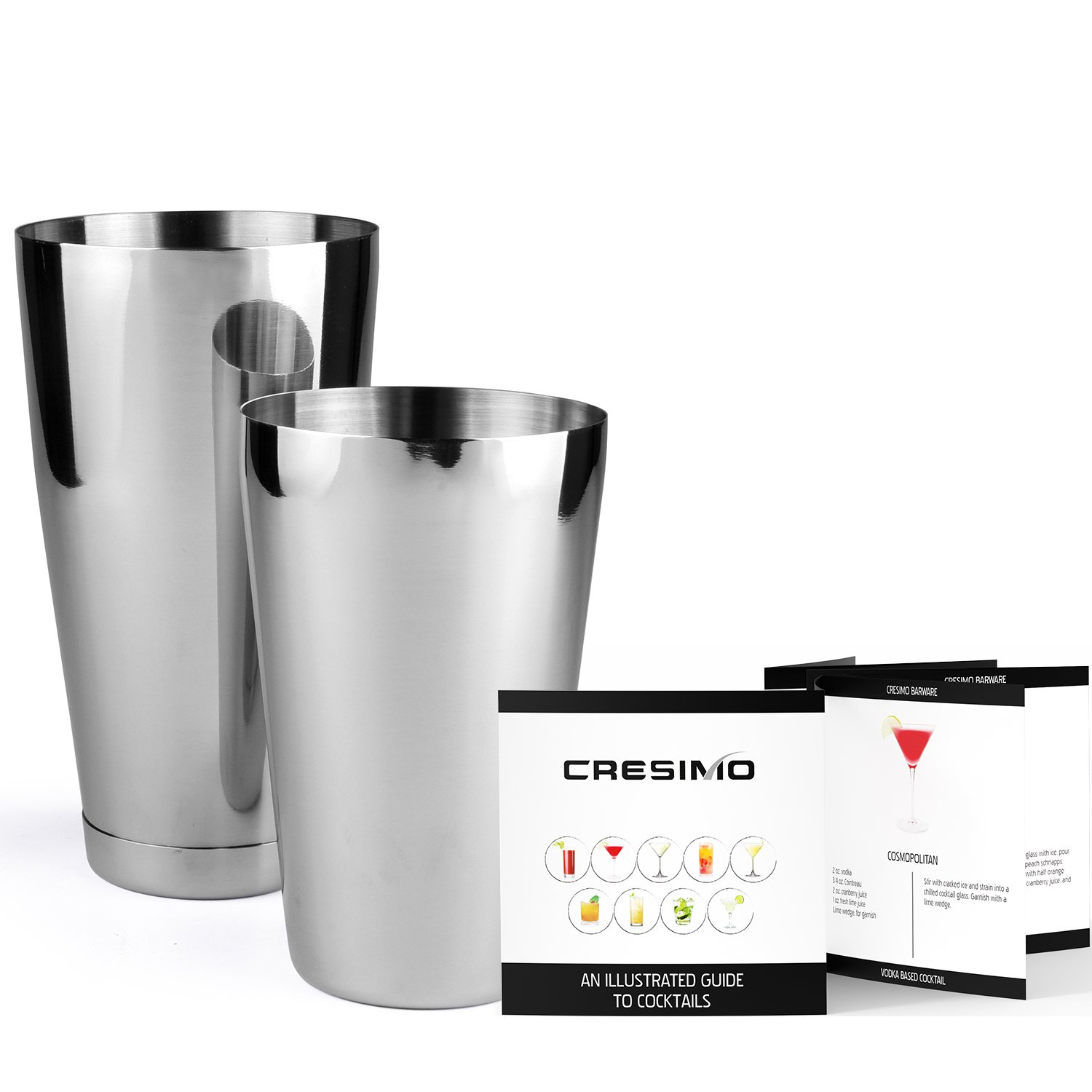 Stainless Steel Boston Shaker: 2-piece Set: 18oz Unweighted & 28oz Weighted Professional Bartender Cocktail Shaker by Cresimo