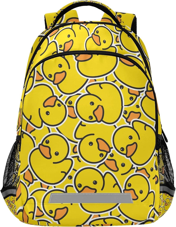 Glaphy Cute Yellow Duck Backpacks Laptop School Book Bag Lightweight Daypack for Men Women Teens Kids