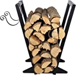 Firewood Holder(22-Inch/Black) Heavy Duty Firewood Rack with Kindling Holder, Indoor Outdoor