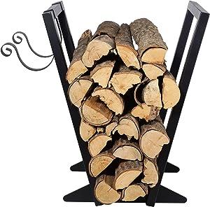 Firewood Holder(22-Inch/Black) Heavy Duty Firewood Rack with Kindling Holder, Indoor Outdoor Fireplace Storage Log Holder