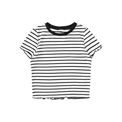 SweatyRocks Women's Short Sleeve Striped Crop T-Shirt Casual Tee Tops at Women's Clothing store
