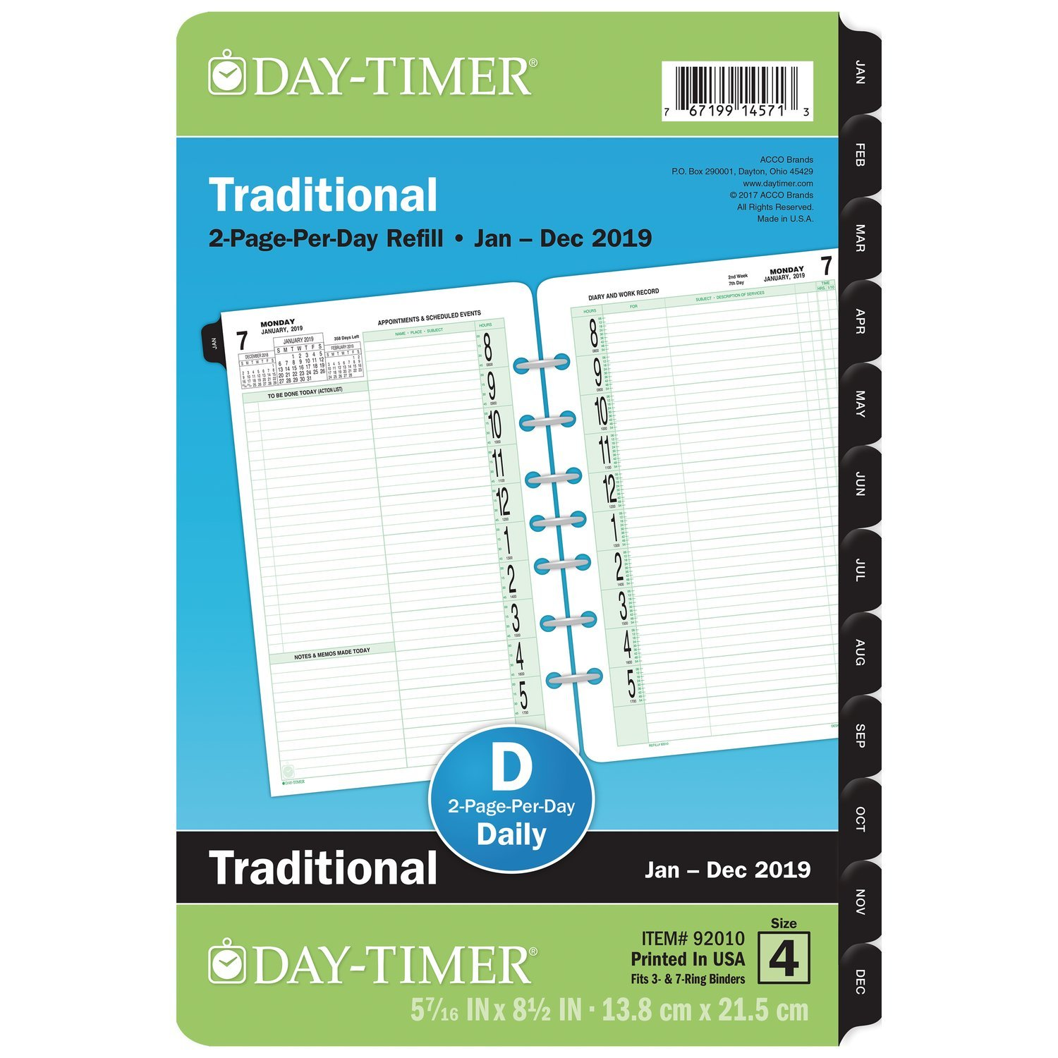 at-A-Glance 2019 Daily Planner Refill, 5-1/2 x 8-1/2, Desk Size 4, Two Pages Per Day (92010) 5-1/2 x 8-1/2 ACCO Brands 920101901