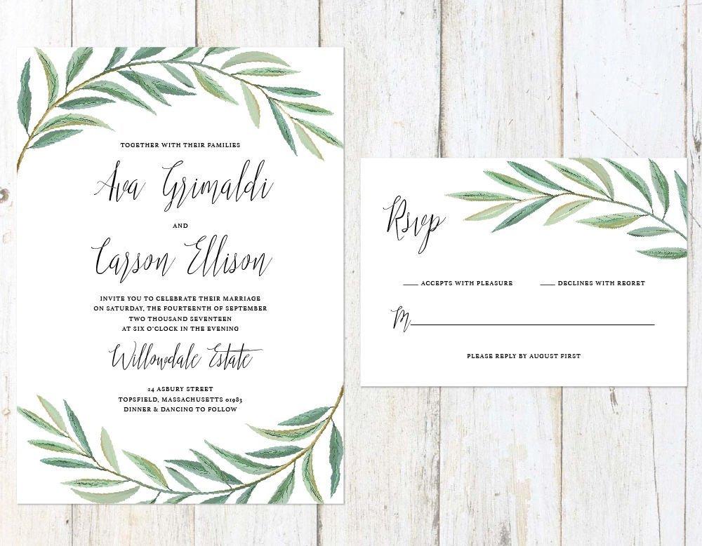 Greenery Wedding Invitation, Leaves Wedding Invitation, Garden Fern Wedding Invitation