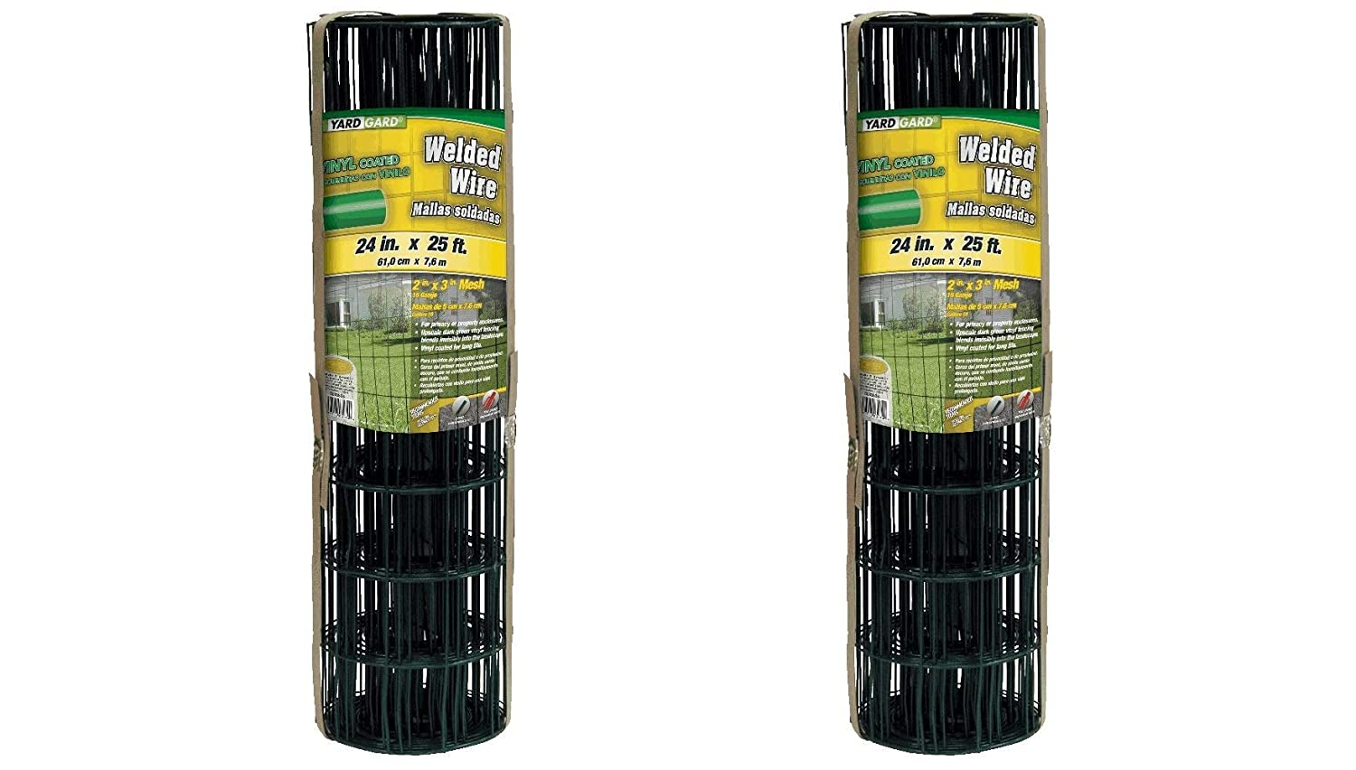 YARDGARD 308350B 2 Inch by 3 Inch Mesh, 2 ft by 25 ft 16 Gauge Junior Roll of PVC Coated Welded Wire Fence(Dark Green) (Pack of 2)