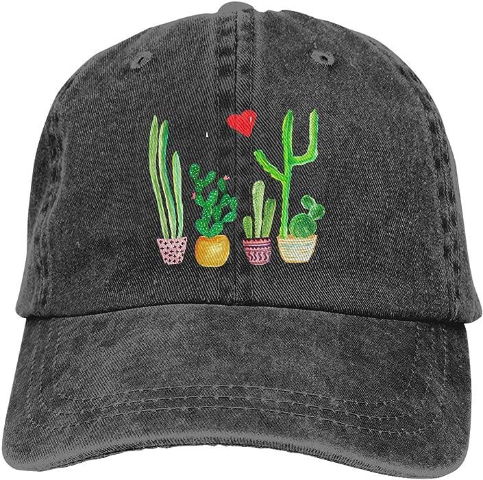 1da2144f8 Unisex Cacti Cactus Love Artical Vintage Jeans Adjustable Baseball Cap  Cotton Denim Dad Hat Black