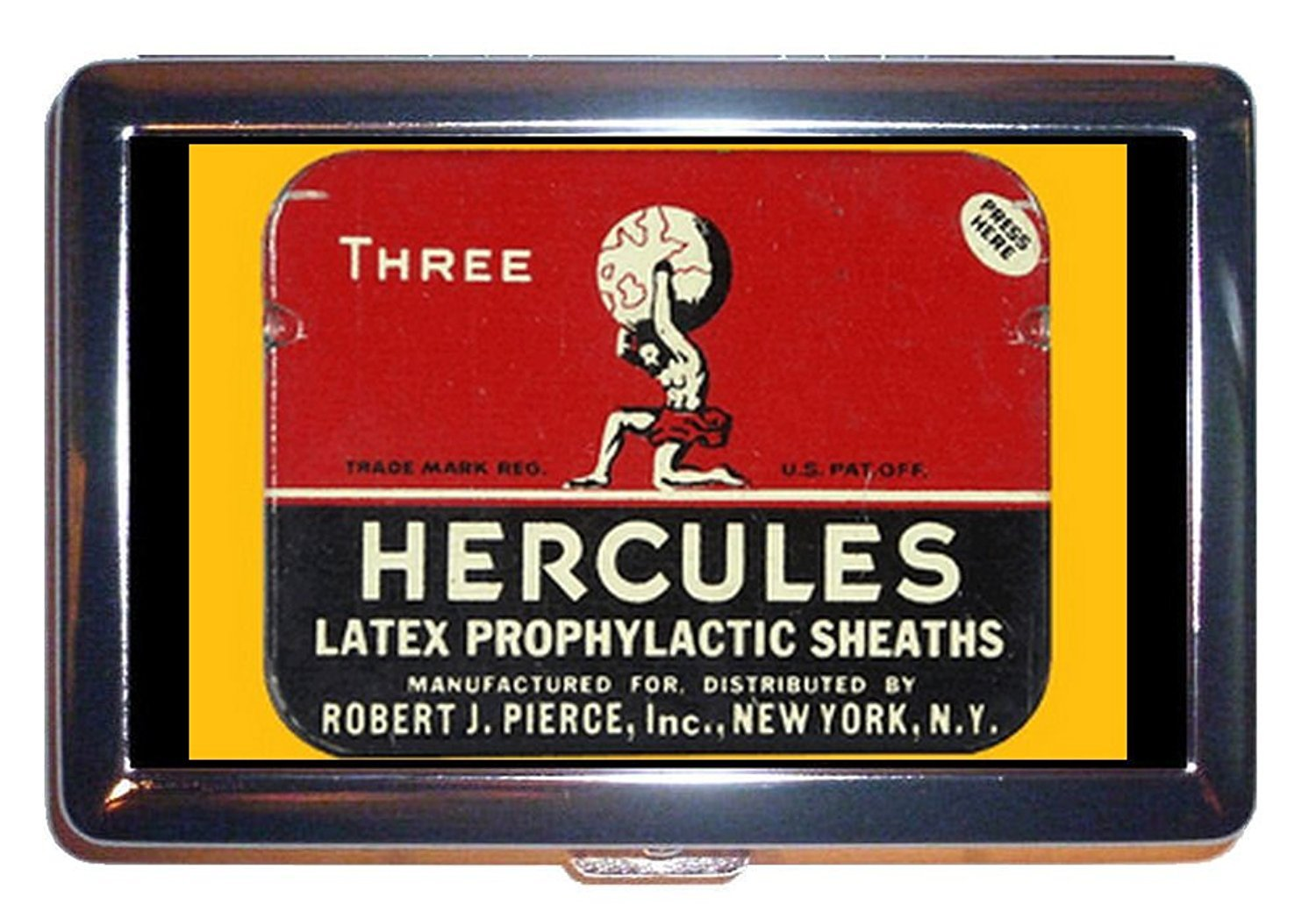 Retro Condom Graphic Hercules Stainless Steel ID or Cigarettes Case (King Size or 100mm) by Coastal Colors   B00P331ZM6