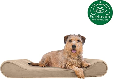 Furhaven Pet Dog Bed Available in Multiple Colors /& Styles Orthopedic Micro Velvet Ergonomic Luxe Lounger Cradle Mattress Contour Pet Bed w// Removable Cover for Dogs /& Cats
