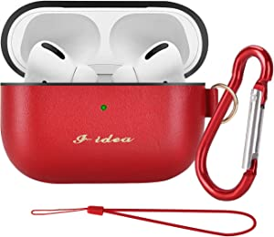 Compatible Airpods Leather case I-idea Genuine Airpods pro Leather case Cover bape Apple airpods pro with Wireless Charging for air pods airpods case Red…