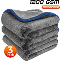 Healsell Microfiber Towels for Cars, Car Drying Towel, Premium Professional Soft Microfiber Drying Towel, 1200 GSM Ultra Thick - Lint Free Microfiber Car Towels 16'' x 16'' (3 Pack)