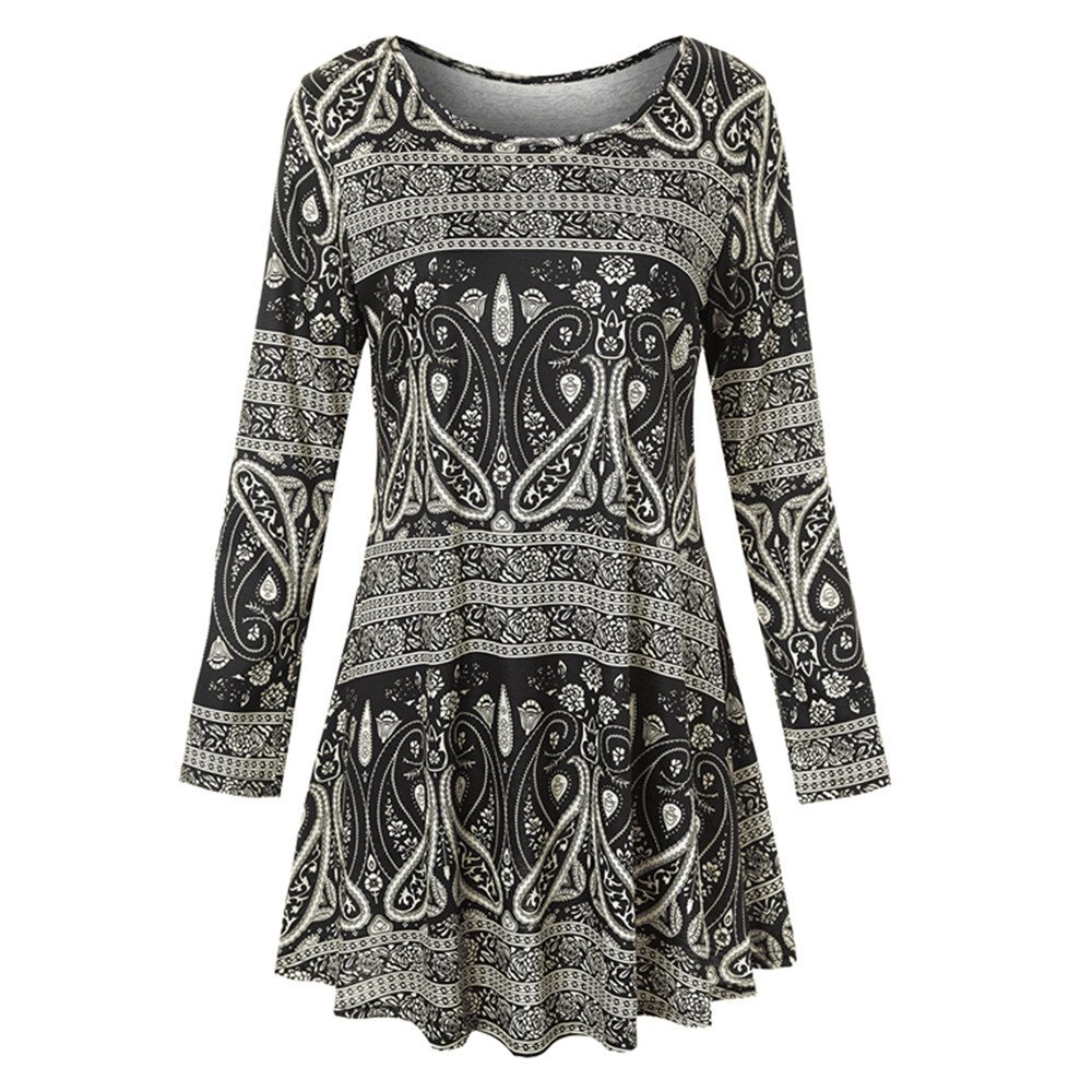 Overmal Womens Long Sleeve O Neck Floral Dress Ladies Summer Casual Dress