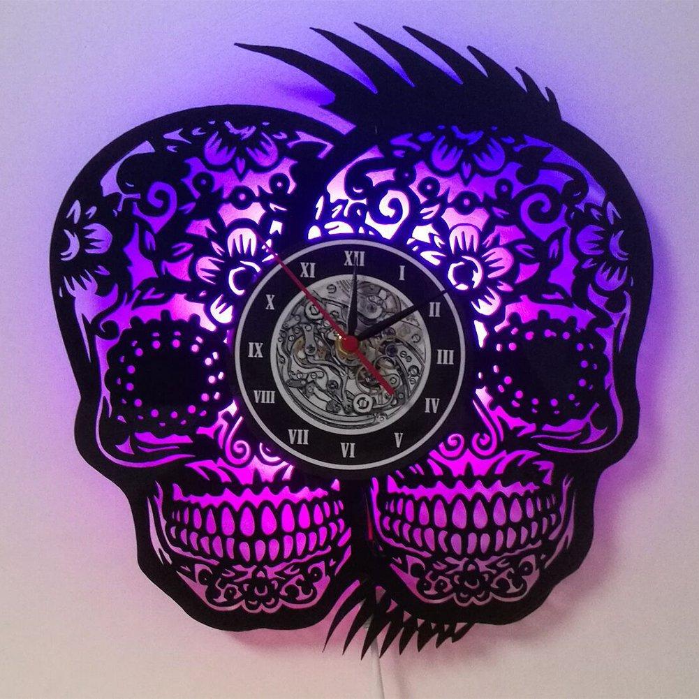 YUN Clock@ Wanduhr Aus Vinyl Schallplattenuhr Upcycling LED Skull Familien Familien Familien Dekoration 3D Design-Uhr Wohnzimmer Schlafzimmer Restaurant Wand-Deko Schwarz Durchmesser 30 cm 45bac7