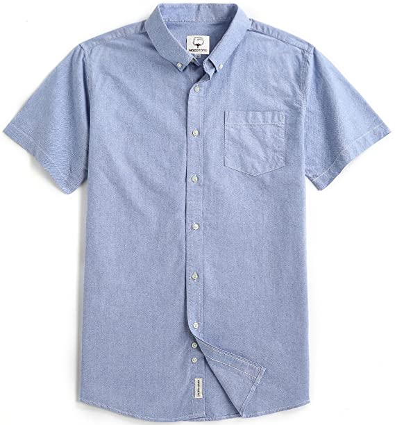 Amazon.com: Mocotono Mens Short Sleeve Oxford Button Down Casual Shirt, Blue, XX-Large: Clothing
