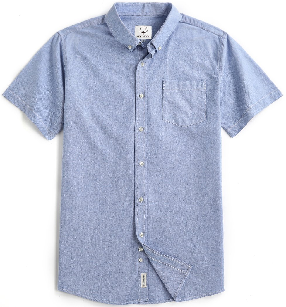 Men's Short Sleeve Oxford Button Down Casual Shirt Sapphire Large