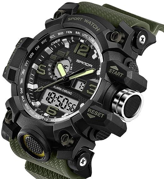 Relojes de hombre Deportes Militares Electrónico Impermeable LED Cronómetro Digital Analógico Doble Pantalla Exterior Ejército Muñequera Reloj Táctico: ...