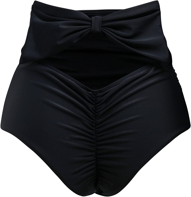 ZOHAMUNG Womens High Waisted Bikini Bottoms Brazilian Cheeky Cut Out Bow Ruched Tankini Panties