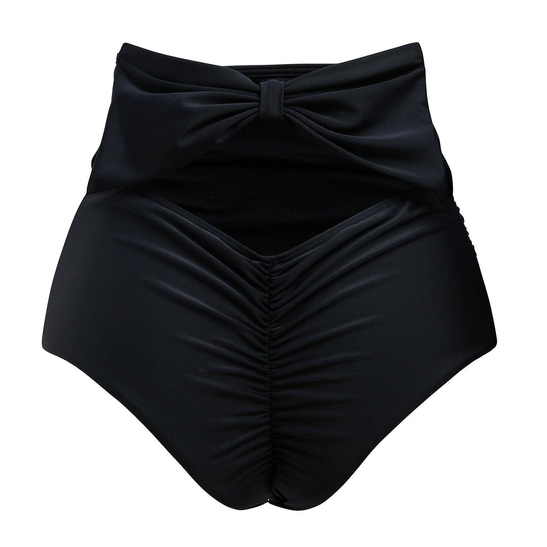 bd7c6d093c Amazon.com: CENG MAU ZOHAMUNG Women's High Waisted Bikini Bottoms Brazilian  Cheeky Cut Out Bow Ruched Tankini Panties(BK,2XL) Black: Clothing