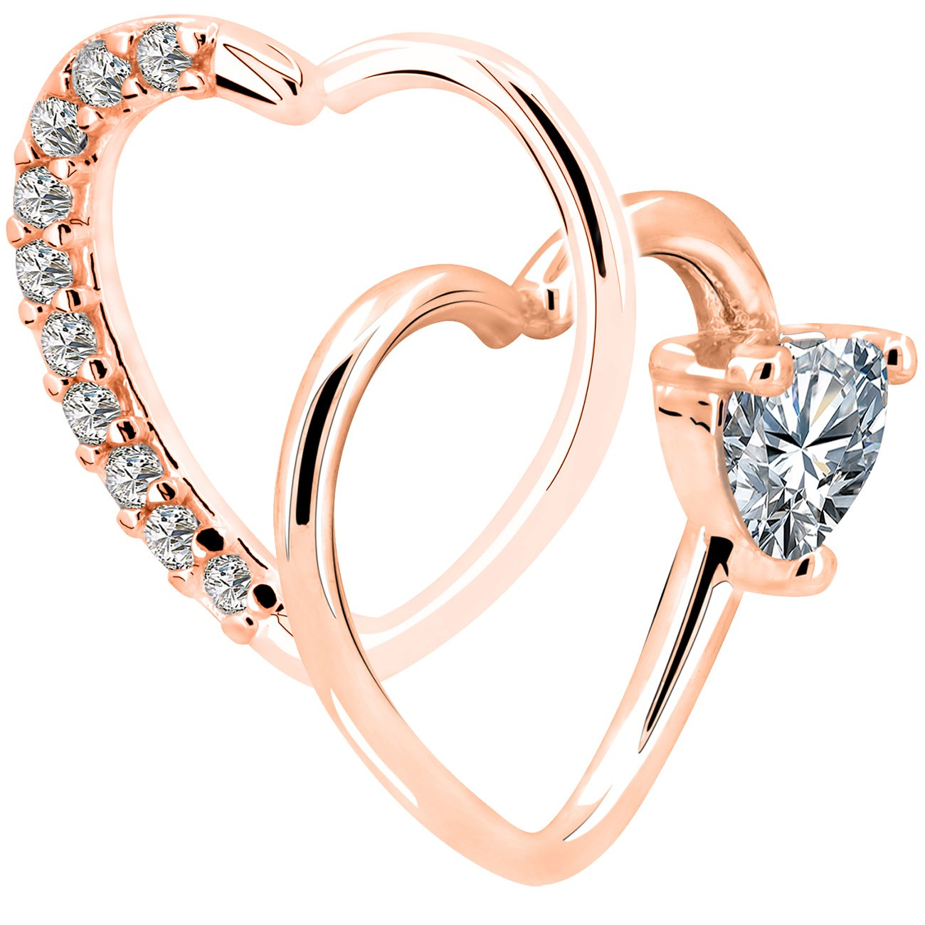 OUFER 2Pieces 18KT Rose Gold Clear Heart Daith Earrings Cartilage Earring Hoop 16Gauge (1.2mm) (Style 2)