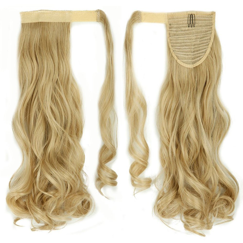 17 Coda di Cavallo Ponytail Wrap Around Hair Extension Clip Capelli Ondulati Meche Parrucchino, Biondo Cenere mix Bleach Blonde Elailite