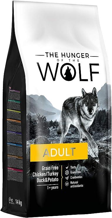The Hunger of the Wolf - Pienso de pollo, pavo, pato y patatas para perros adultos de todas las razas, fórmula delicada sin cereales, 14 kg