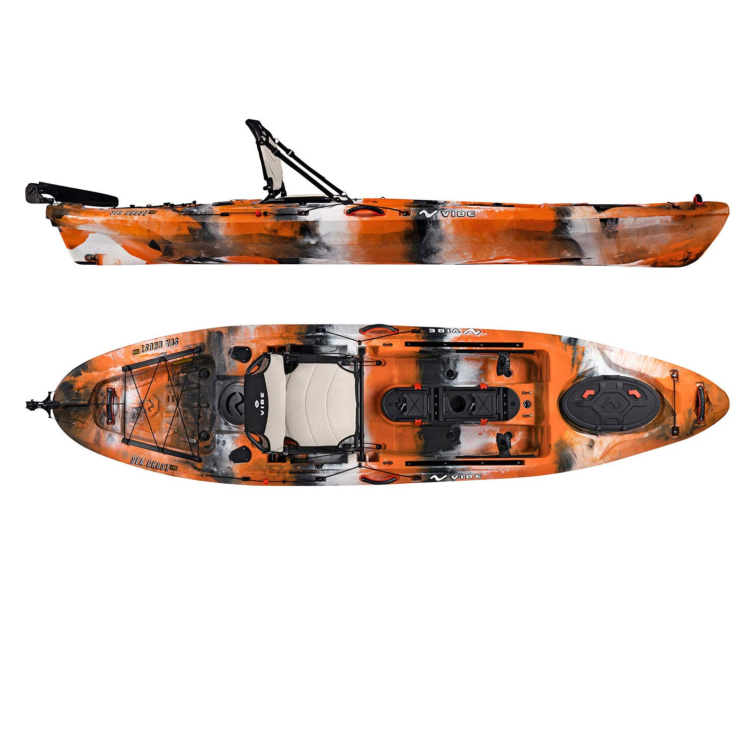 Vibe Kayaks Sea Ghost 110 11 Foot Angler Sit On Top Fishing Kayak with Adjustable Hero Comfort Seat Transducer Port Rod Holders Storage Rudder System Included