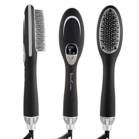 acevivi Ion de cepillo de pelo cepillo de aire caliente alisador de cabello LCD con temperatura