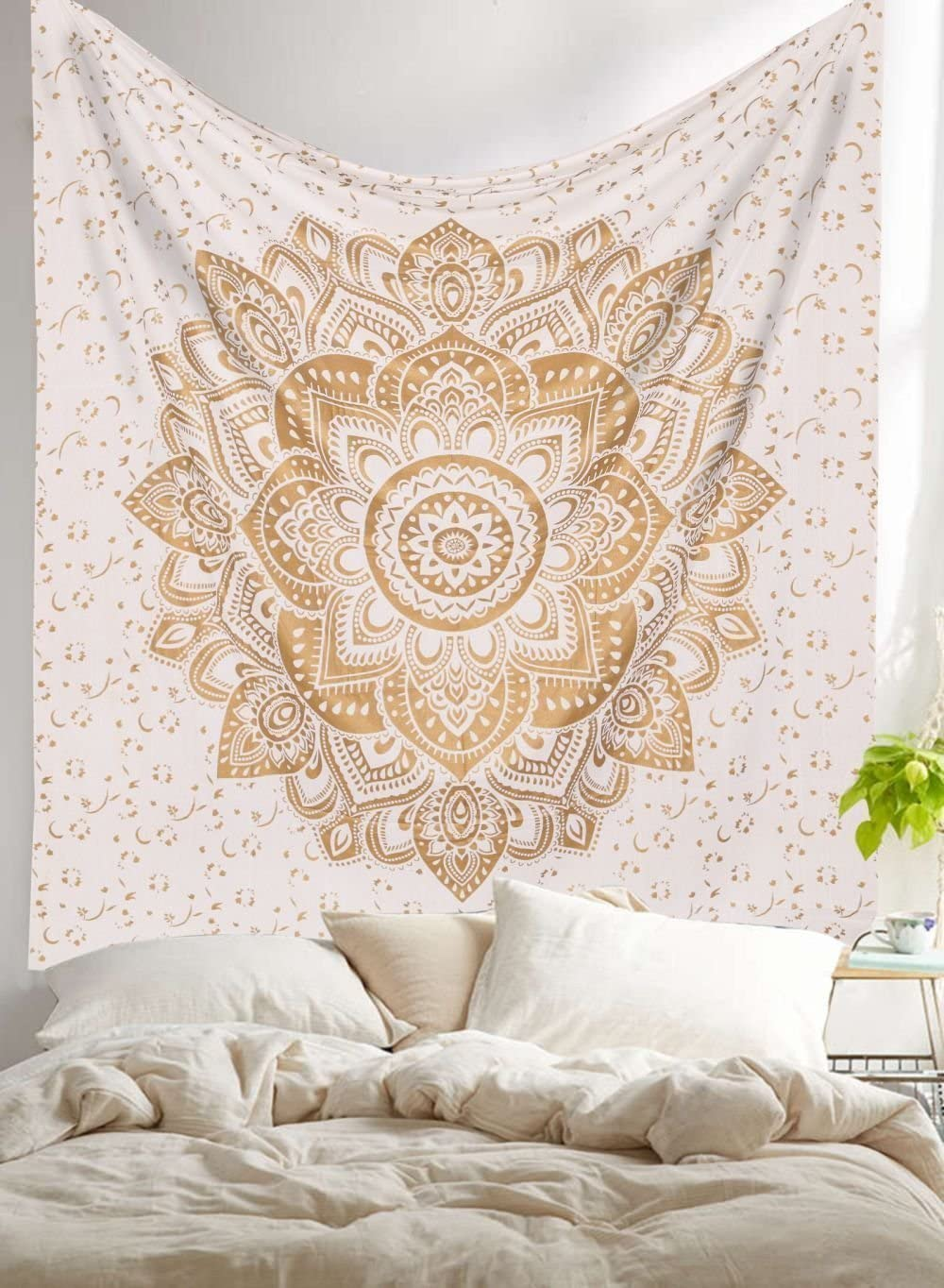 Large Tapestry Queen Size Gold and White Tapestries 90x85 Tapestry Wall Hanging Tapestry Indian Wall Decor Boho Wall Tapestry Indian Wall Blanket
