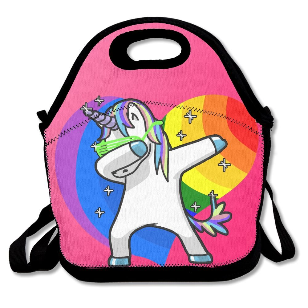 Rainbow Gay Pride Heart Shape Hip Hop Dabbing Dab Dance Unicorn Lunch Handbag Lunchbox Tote Bags Insulated Cooler Warm Pouch With Shoulder Strap For Women Girls Kids Adults Teens
