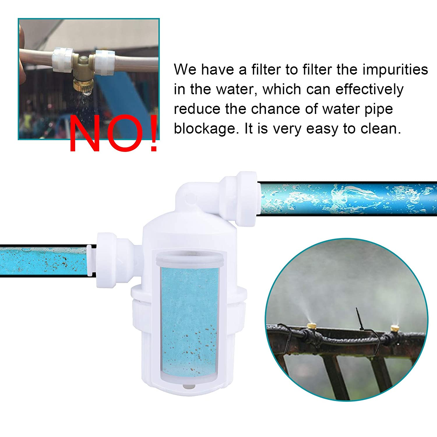 MIXC Outdoor Mist Cooling System Fan Misting Kit Animal Plants Swimming Pool Cooler with 20ft 1//4inch Tube Hose Pipe 7 Brass Metal Nozzles Jets Misters Water Filter for Patio Garden Home Irrigation