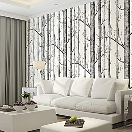 LIKE SHOP Simple Black and White Woods Birch Tree ...