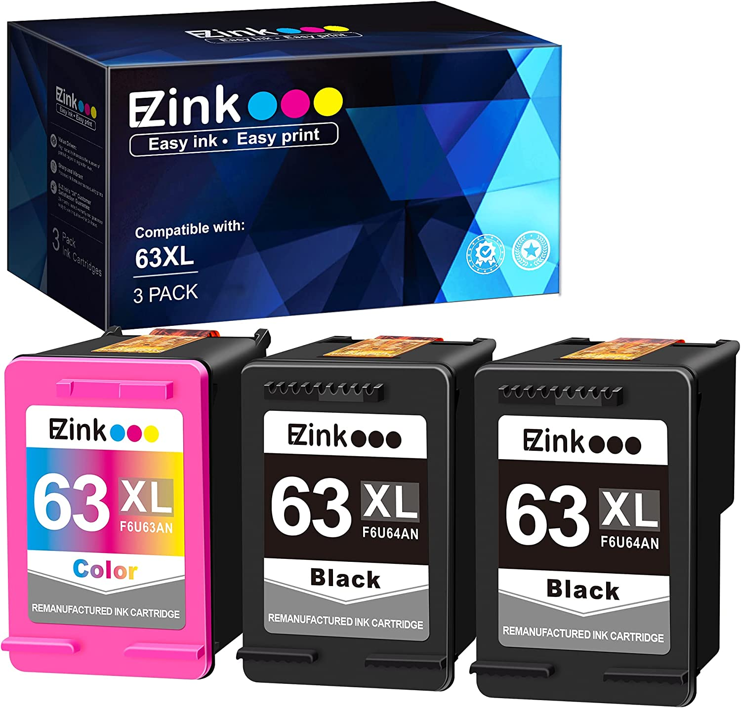E-Z Ink (TM) Remanufactured Ink Cartridge Replacement for HP 63XL 63 XL to use with Officejet 3830 5255 4650 3833 Envy 4520 Deskjet 1112 3637 3630 3634 Printer (2 Black, 1 Tri-Color)