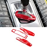 3PCS Remote Key Covers Compatible with Porsche, Jaronx Glossy Red Key Fob Shell Cover Painted