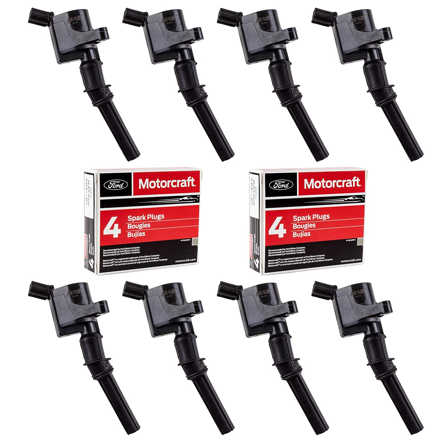 MAS Set of 8 Ignition Coil DG508 and Motorcraft Spark Plug SP493 for Ford Lincoln Mercury 4.6L engines DG457 DG472 DG491 F523 3W7Z12029AA 1L2U12029AA ...