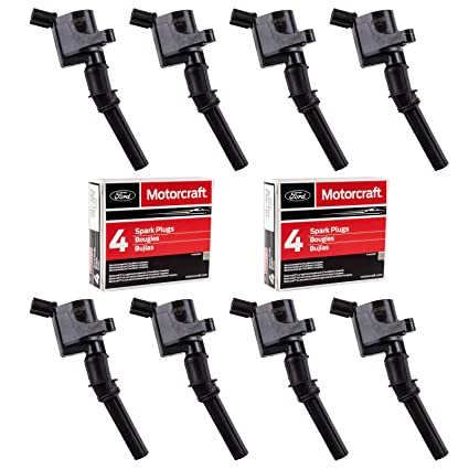 MAS Set of 8 Ignition Coil DG508 and Motorcraft Spark Plug SP493 for Ford Lincoln Mercury