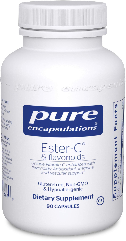 Pure Encapsulations - Ester-C & Flavonoids - Hypoallergenic Vitamin C Supplement Enhanced with Bioflavonoids - 90 Capsules