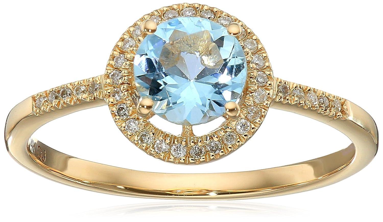 0.77 Carat Genuine Aquamarine & White Diamond 14K Yellow Gold Ring