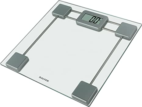 Salter Glass Digital Bathroom Scales Electronic Body Weighing In Kg St Toughened Glass Platform Easy To Read Display Step On Feature For Instant Weight Reading 15 Yr Guarantee Amazon Co Uk Health Personal