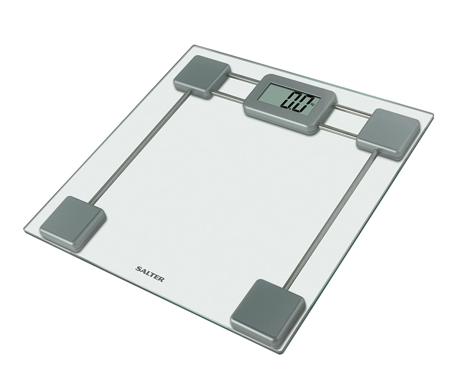 Salter Glass Digital Bathroom Scales  Electronic Body Weighing In Kg Or  St,0.1kg /1/4 Lb Increments,Toughened Platform,Easy Read Display,Step On  Feature For ...
