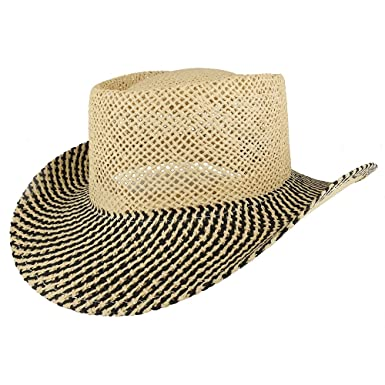 fba408afd289b Trendy Apparel Shop UV 50+ Men s Plain Straw Lightweight Casual Wide Brim  Gambler Hat - Black at Amazon Men s Clothing store