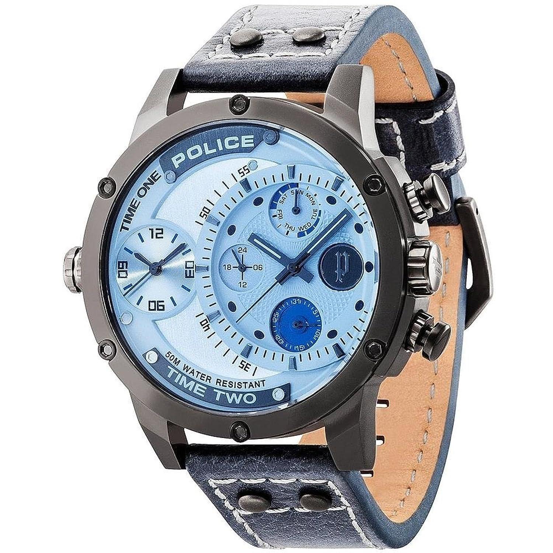 POLICE P14536JSU-13A ADDER Uhr Herrenuhr Lederarmband Edelstahl 50m Analog Datum blau