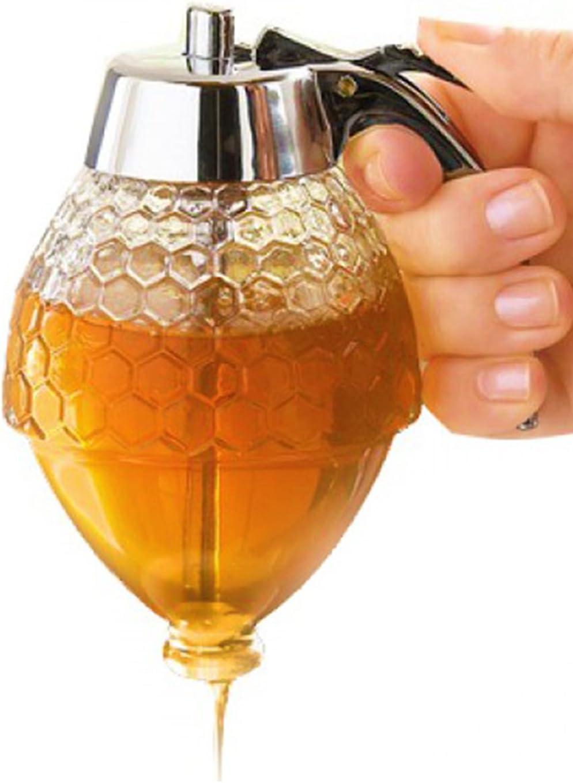 Hunnibi Acrylic Honey Dispenser, No Drip Syrup Dispenser Jar with Stand