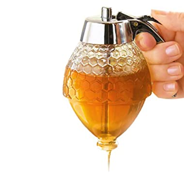 DM Honey Dispenser - no Drip Syrup Dispenser Pot Jar, Shatter Proof Acrylic