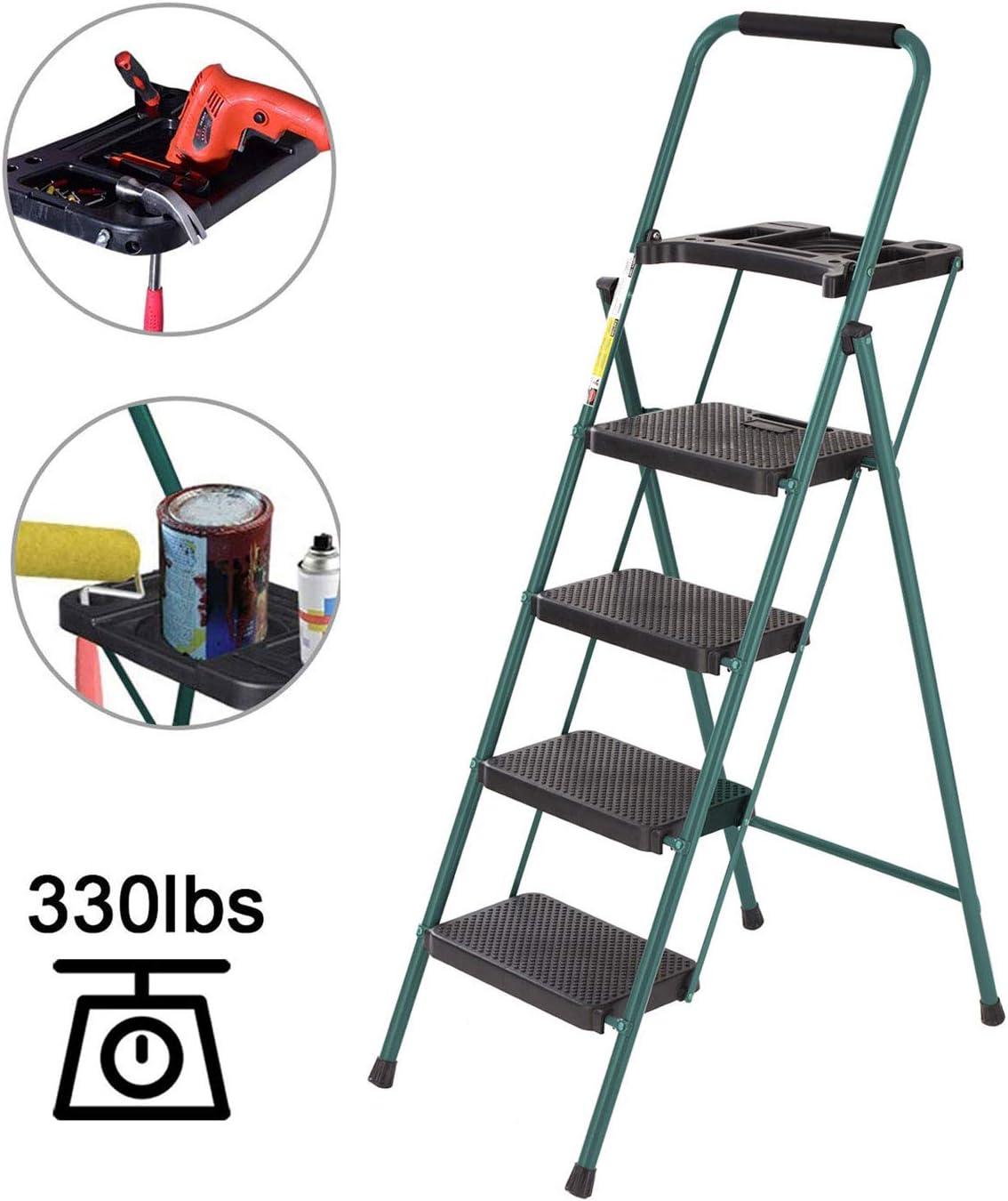 Escalera de 4 peldaños más fuerte, bandeja de herramientas ligera con mango de seguridad, marco verde mejorado con escalones anchos resistentes, soporta el peso de 330 libras, fuerte escalera plegable: Amazon.es: Bricolaje