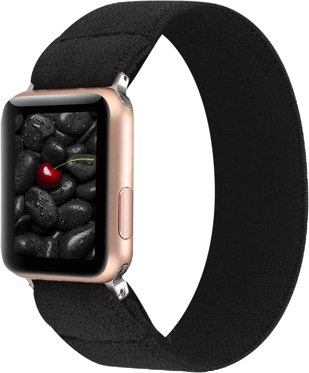 PENKEY Women Elastic Watch Band Compatible for Apple Watch 38mm 40mm 42mm 44mm,Stretchy Wristbands Replacement for IWatch Series 1 2 3 4 5 (Black, 38/40mm)