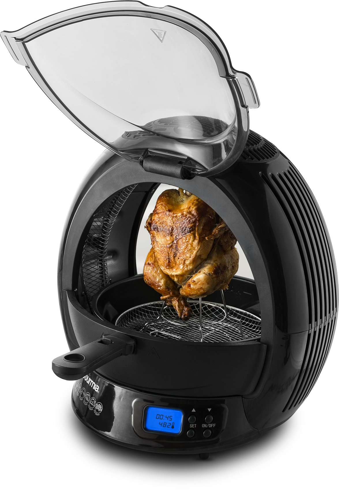 Gourmia GMF2600 9 In 1 Halogen Powered Vertical LED Display Rotisserie, Air Fryer, Multicooker  with Accessories and Recipe Book